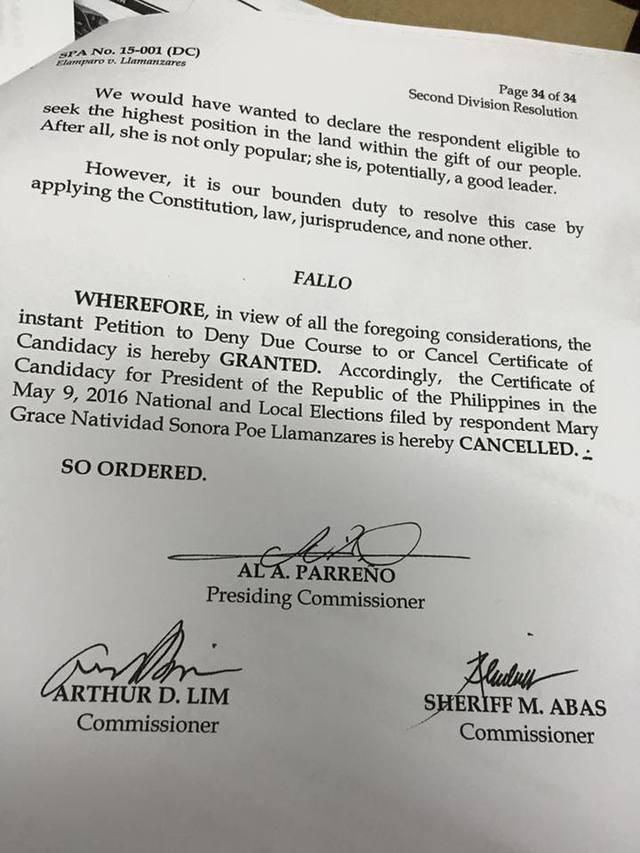 Grace Poe Disqualified, US citizen Grace Poe
