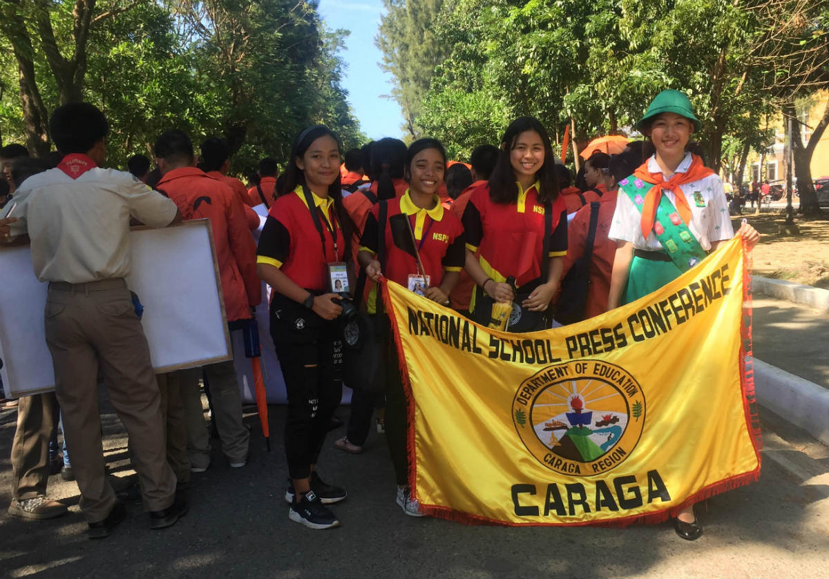 ALL SMILES. Delegates from CARAGA line for the parade and opening ceremonies of NSPC 2019  at Narciso Ramos Sports Complex in Lingayen, Pangasinan. Photo from Journknows