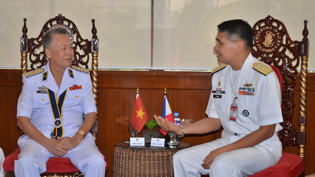 STRONGER TIES. Vietnam People Navy's Deputy Chief of Staff Rear Admiral Nguyen Van Kiem and Philippine Navy Rear Admiral Caesar Taccad. Photo from the PH Navy
