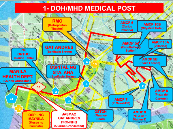 A map of medical posts manned by Department of Health and Manila Health Department personnel provided by the DOH