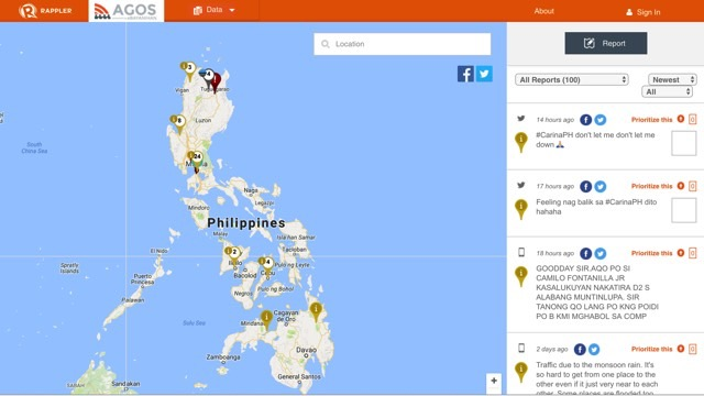 SNAPSHOT. The Agos Alert Map crowdsources and visualizes reports in times of disaster. Visit agos.rappler.com today