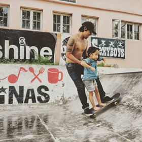BONDING. Angelo Lago guides daughter Jazzy Hannah while riding a skateboard. Photo from Angelo Lago