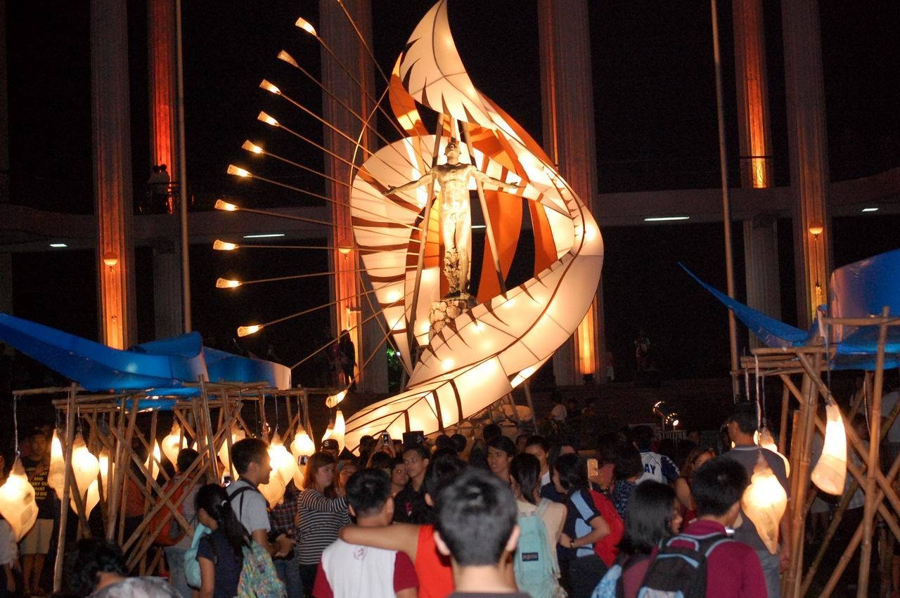 BUDYONG AND TAMBULI. Designed to include lantern elements inspired by 'budyong' (conch shell) and 'tambuli' (bugle made of horn), the giant installation in UP Diliman in Quezon City highlights the traditional use of the instruments that date back to the pre-colonial times. Photo by Mon Ramirez