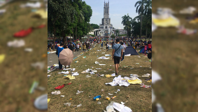 HOLY WEEK GARBAGE. Several pieces of trash are seen littered outside the Grotto of Our Lady of Lourdes in San Jose Del Monte, Bulacan. Photo courtesy of Isaiah Christian Reyes