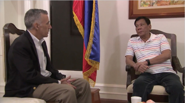 US-PH TIES. United States Ambassador to the Philippines Philip Goldberg (left) visits President-elect Rodrigo Duterte (right) in Davao City on June 13, 2016. Screen grab from RTVM