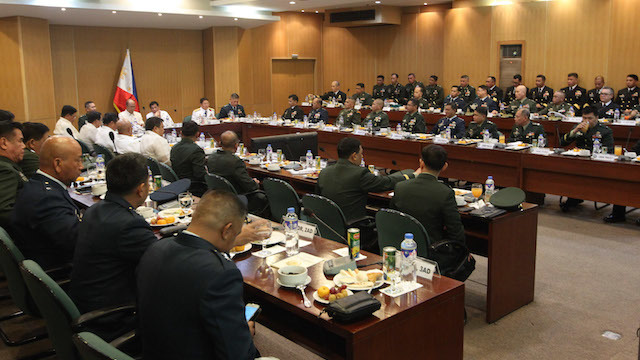 WAR ROOM. President Rodrigo Duterte sits in a command conference attended by the commanding generals of all key posts in the military. Malacañang photo
