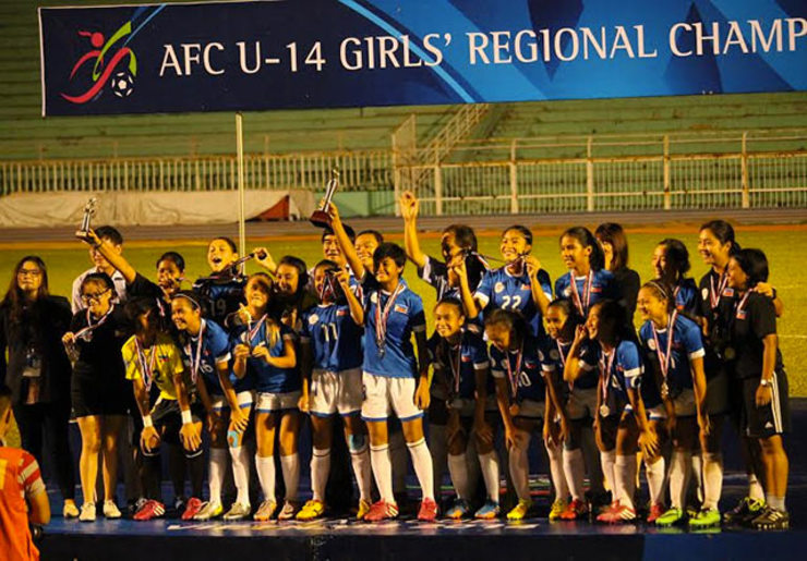 WELL DESERVED. The Philippine U14 National Girls Team celebrates their second place finish in the AFC U14 Southeast Asia championship. Photo by Ronald Whaley