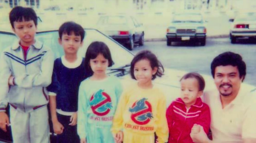 FAMILY. RJ Señeres (2nd from left), and his siblings Christian, Hannah, Hazel, and Chris lived in Abu Dhabi where their father Roy Señeres Sr served as Labor Attachè.