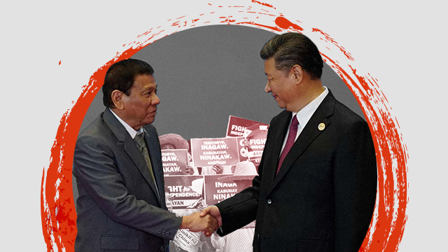 STATE VISIT. President Xi Jinping will visit the Philippines on November 20-21, the first in 13 years. Duterte and Xi photo from Malacañang; protest photo by LeAnne Jazul/Rappler