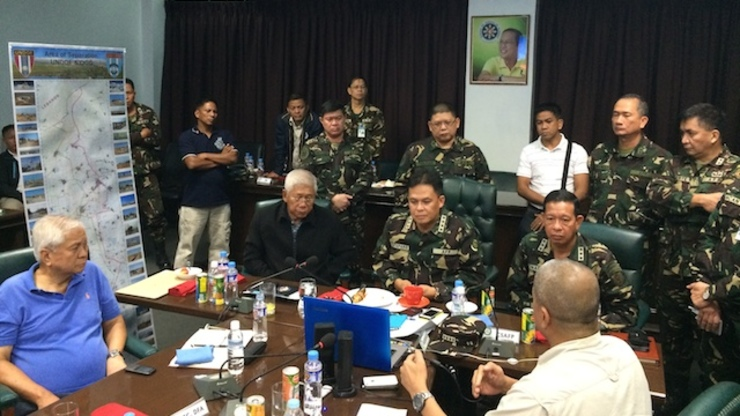 WAR ROOM: Defense Secretary Voltaire Gazmin, General Gregorio Catapang Jr and Foreign Affairs Secretary Albert Del Rosario monitor developments in Golan Heights. Photo courtesy of AFP-PAO