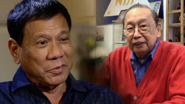 STUDENT VS TEACHER? Communist leader Jose Maria Sison (right) criticizes his former student, President Rodrigo Duterte, for his hasty decision to end the ceasefire with communist rebels.