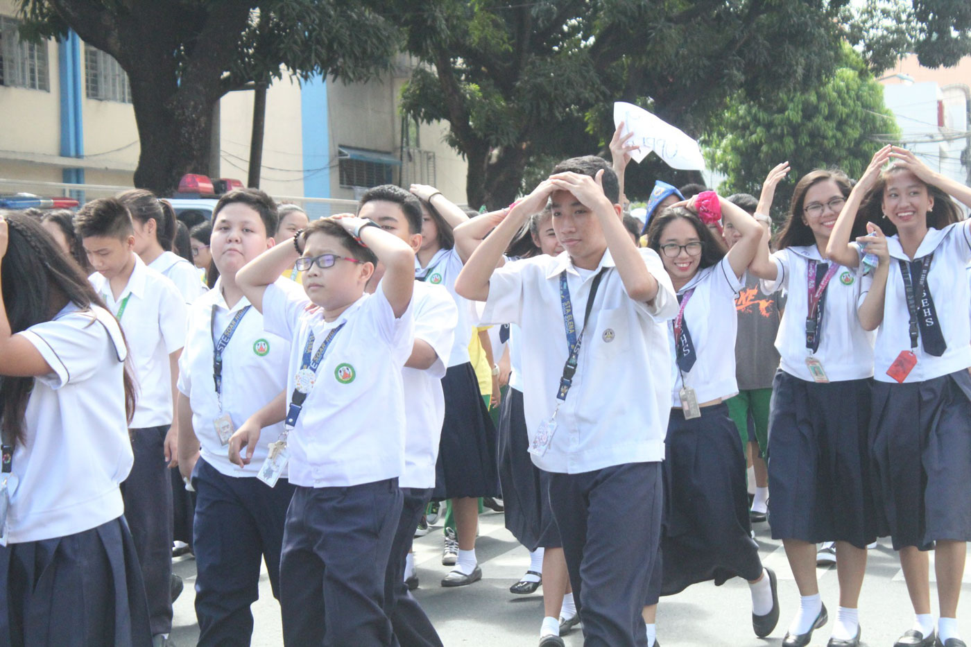 PARTICIPATION. Students of Sta Elena High School 'evacuate' during a monthly earthquake drills Photo courtesy of Giovanna Jean Nesas