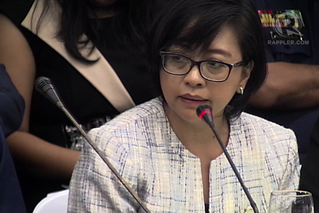Government peace panel chair Miriam Coronel-Ferrer attends the Senate hearing on the January 25 clash in Mamasapano, Maguindanao. File photo by Rappler