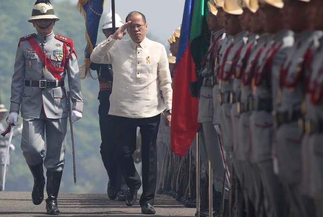 COMMANDER-IN-CHIEF. President Benigno S. Aquino III walks among troops upon arrival at the Dambana ng Kagitingan in Pilar, Bataan for the 73rd Commemoration of the Day of Valor on April 09, 2015. Photo by Lauro Montellano, Jr. / Malacañang Photo Bureau