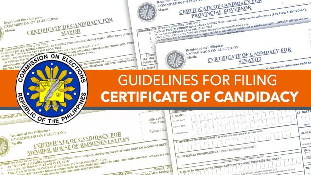 Guidelines For Filing Certificates Of Candidacy