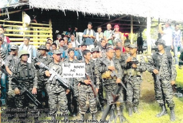 MILF TRAINING? A photo of alleged MILF training and recruitment in Sulu involving high-powered firearms, presented at the Senate hearing on the Mamasapano clash on February 24, 2015.
