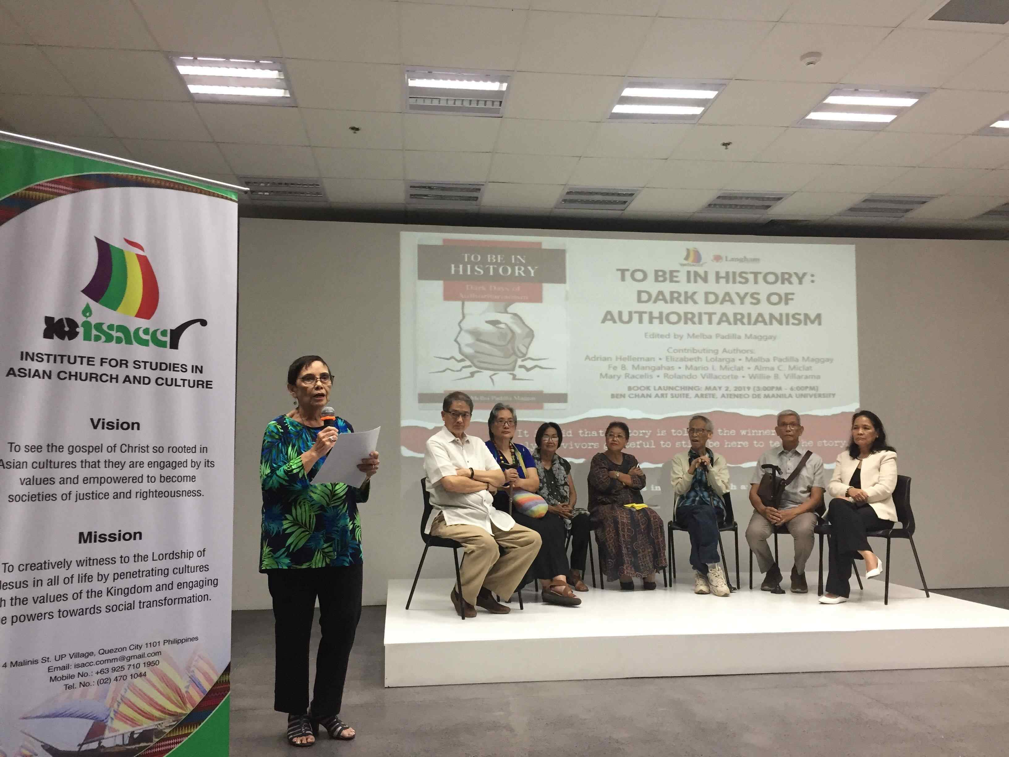 UNITED. Mary Racelis, one of the contributors of the book, responds to the audience in behalf of all the authors seated on the platform during the launch of ''To Be in History: Dark Days of Authoritarianism' on May 2, 2019. Photo by Maria Gabriela Aquino/Rappler