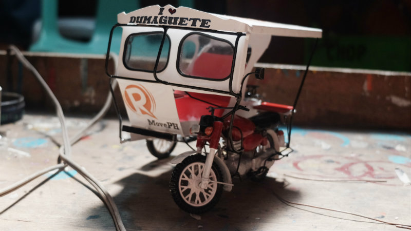 FINISHED PRODUCT. It takes four days for Andy Villaruel to finish a miniature tricycle
