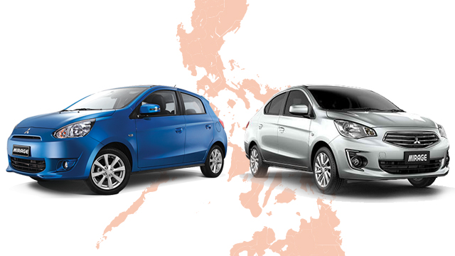 NEW LINES. The Mitsubishi Mirage sub-compact seen here in both hatchback and sedan form. Mitsubishi officials say the additional production lines in the Philippines will complement the model's existing production base in Thailand.