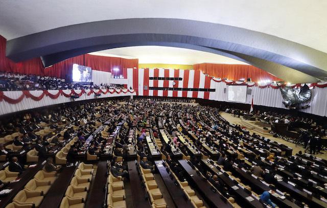 PARLEMEN. Sidang paripurna DPR, MPR, dan DPD RI saat Presiden Jokowi bawakan Pidato Kenegaraan pada 14 Agustus 2015. Foto oleh Mast Irham/EPA