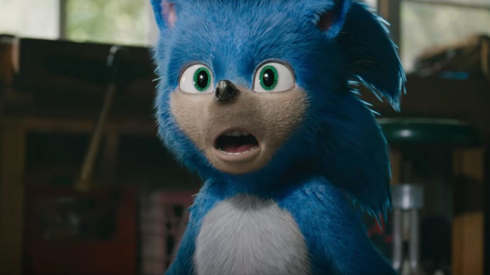SONIC. Sega video game character Sonic gets the live-action movie treatment. Screenshot from movie trailer