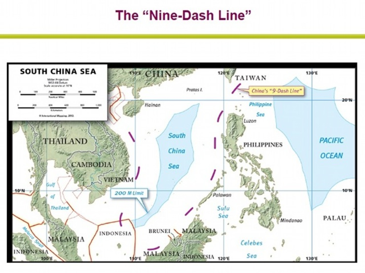 NO DEFENSE. Paul Reichler says that China does not even attempt to defend its controversial 9-dash line. Map courtesy of Reichler's CSIS lecture