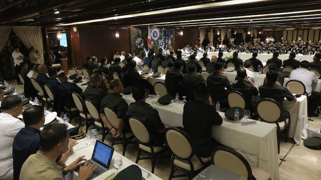 DSSP KAPAYAPAAN. In this file photo, the military presents to President Rodrigo Duterte its new campaign plan during a command conference on January 6, 2017. Malacañang photo