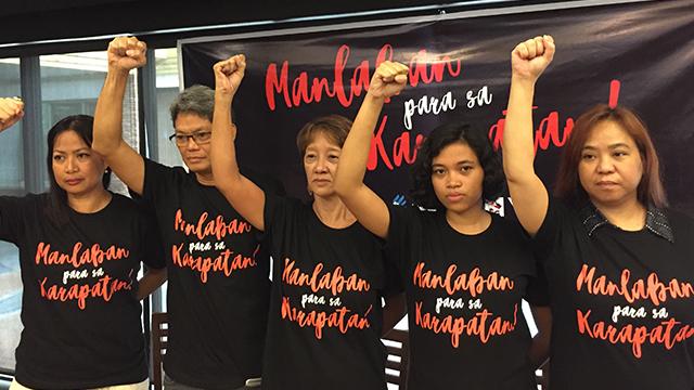 FOR HUMAN RIGHTS. The organizers of Manlaban para sa karapatan. (L-R) Jean Enriquez (World March of Women), Josua Mata (KALIPUNAN), Rose Trajano (iDEFEND), Shamah Bulangis (Youth Resist), Jozy Acosta-Misperos (CAMB). Photo by Danielle Nakpil/Rappler