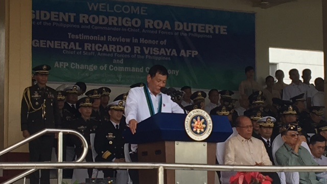 KEEPING A PROMISE. President Rodrigo Duterte reiterates his promise not to tinker with promotions in the military. Rapper photo
