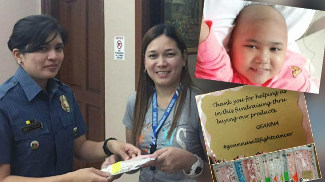 HELPING HAND. Police Officer 1 May Liezl dela Cruz helps raise funds for Geanna Catan (inset), an 8-year-old diagnosed with leukemia. Photos from May Liezl dela Cruz and the Catan family