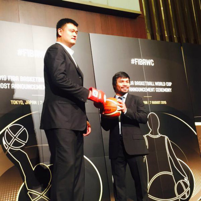 in photos manny pacquiao yao ming at 2019 fiba world cup bid