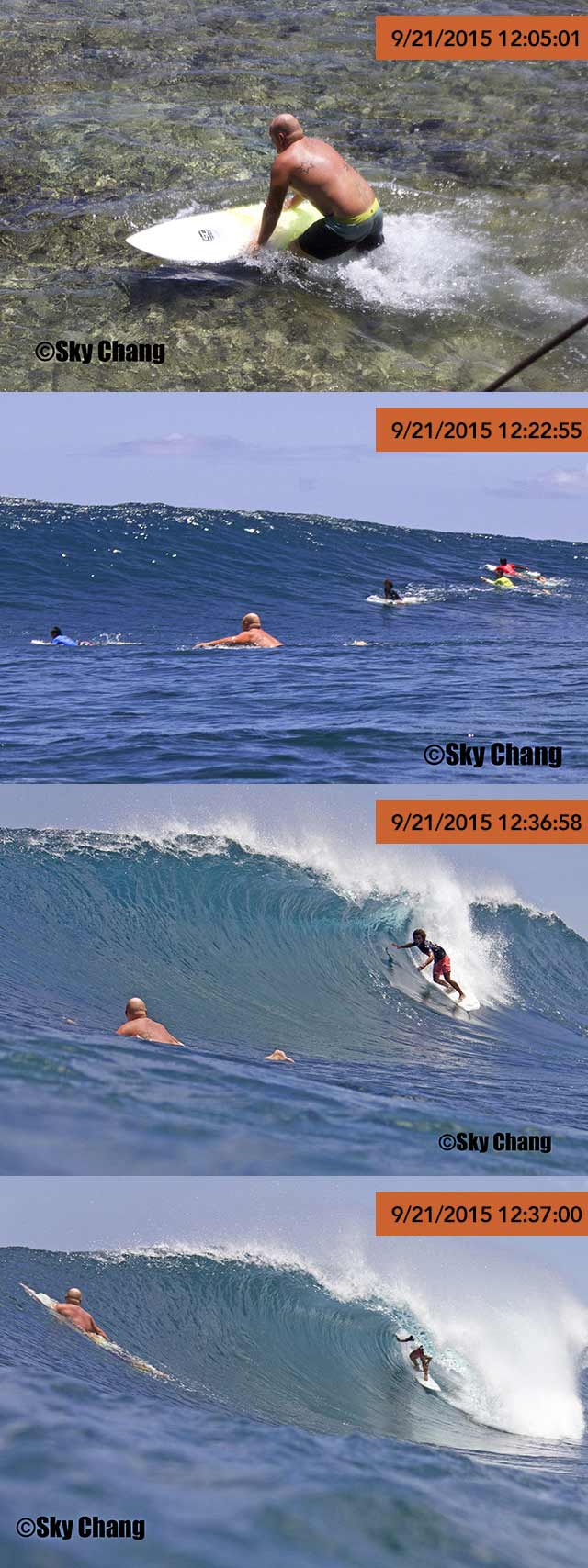 CAUGHT? A series of photos from Sky Chang seemingly show Brent Symes was clearly in the competition area when surfers were competing. Photo from Sky Chang