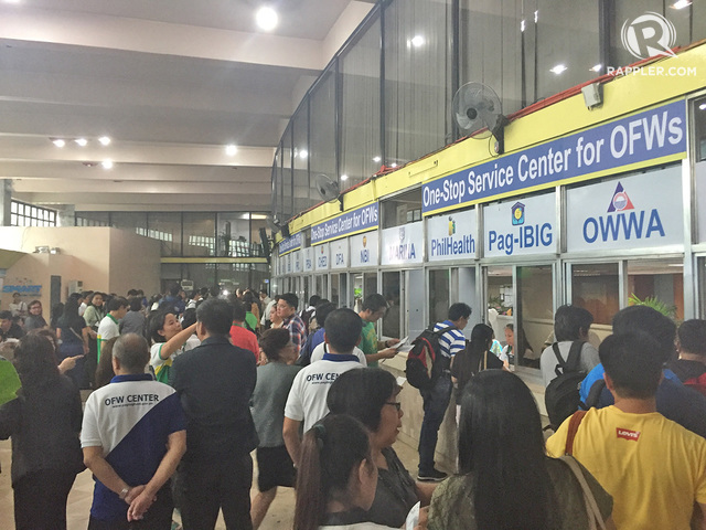 ONE-STOP SHOP. The one stop service center  serves as many as 2000 to 3000 OFWs everyday. Photo by Don Kevin Hapal