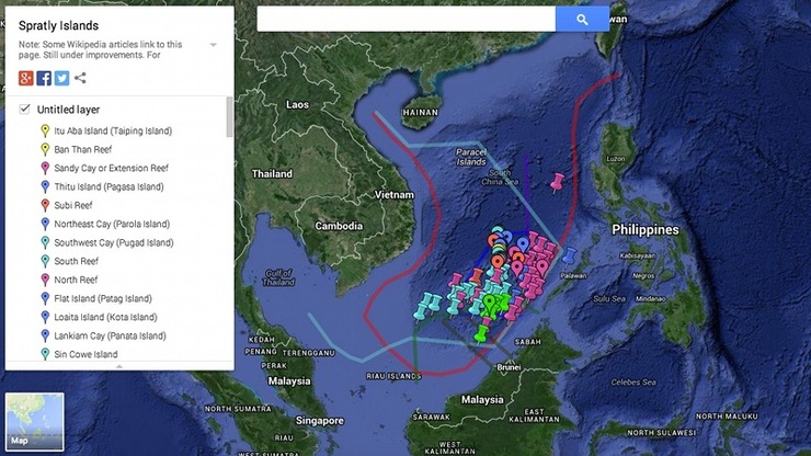 DISPUTED SEA. A screengrab from Google Maps of the disputed features in the South China Sea, known as West Philippine Sea in the Philippines.