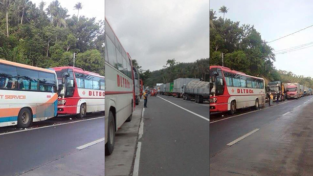 LONG WAIT. Around 500 buses and trucks have been stuck in Matnog Port since Friday, December 23, due to ferry cancellations caused by Typhoon Nina. Photos by Jhay-r Timosa/ RACER/ Rappler