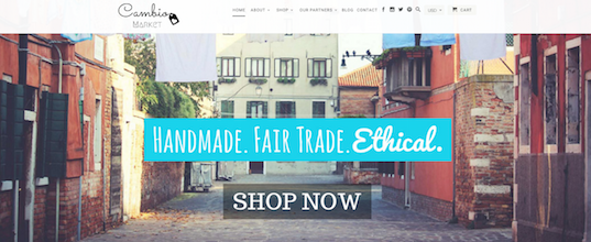 FAIR TRADE. Cambio Market launched in October 2015. Screenshot of the Cambio Market website.