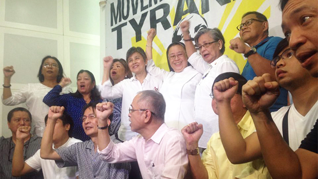 GATHERING STORM. Leaders of militant groups, churches, academic institutions, media, and other sectors launch the anti-Duterte Movement Against Tyranny (MAD) on August 28 in Quezon City. Photo by Voltaire Tupaz/Rappler