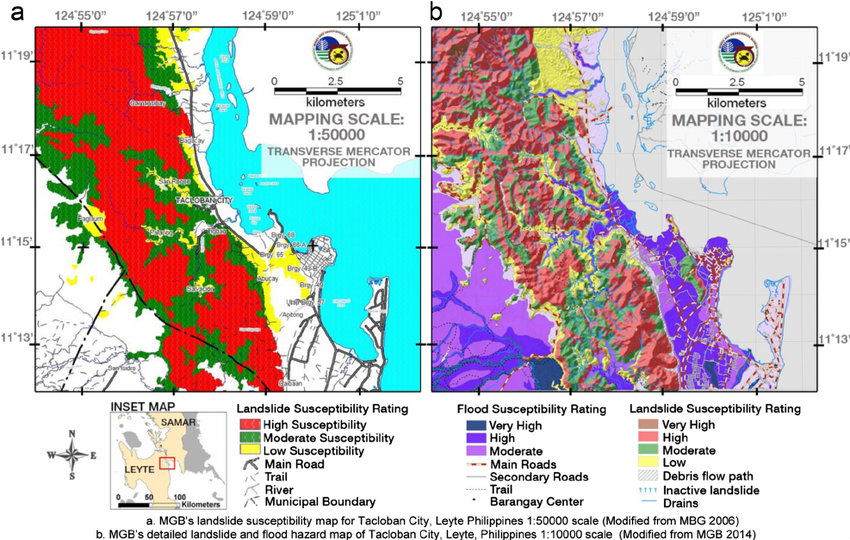 UNDERSTANDING MAPS. This is a screenshot of the maps on landslide and flood susceptibility from the Department of Environment and Natural Resources (Mines and Geosciences Bureau). The maps are in jpeg format, and require considerable work for reuse.