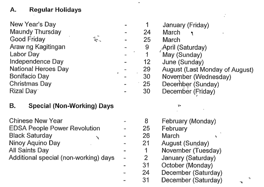 LIST: 2016 Philippine Holidays