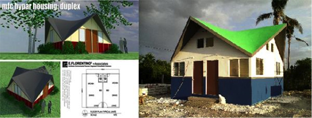DISASTER-RESILIENT HOUSE. The Habitat for Humanity hyperbolic paraboloid house design, developed by architect Ed Florentino, being built in Barangay Agujo, Daanbantayan, Cebu. Photo from the France Philippines - United Action