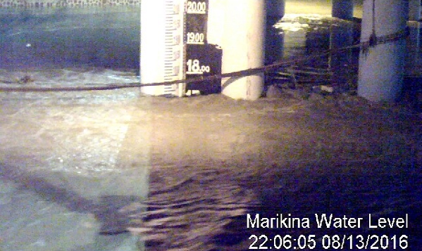 FLOODWATERS SUBSIDE. As of 10:06 pm, August 13, the water level in Marikina River goes down to 17.4 meters. Photo courtesy of  the Marikina City Public Information Office