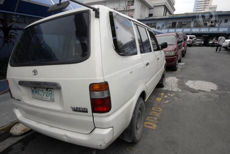 The vehicle containing improvised explosives that was found at the parking lot of the Ninoy Aquino International Airport Terminal 3, now at the NBI headquarters in Manila, 1 September 2014. Photo by Joel Leporada/Rappler