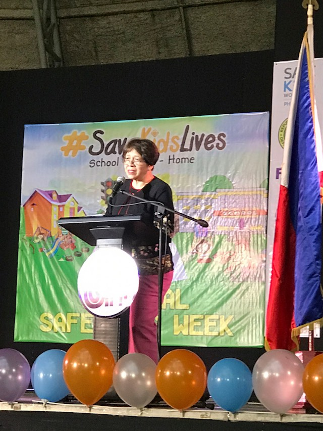 SAVE KIDS' LIVES. Safe Kids Worldwide Philippines president Dr Jocelyn Yambao-Franco delivers her speech at the SM Sky Dome on June 22, 2017. Photo by Kaela Malig/Rappler