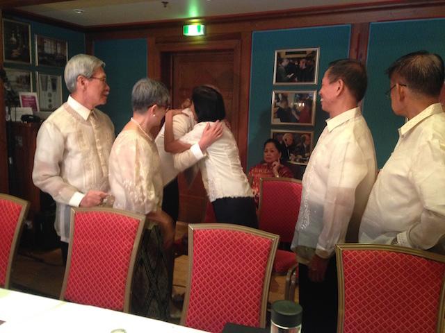 NEGOTIATORS. Norway's Special Envoy to the Philippine Peace Process Ambassador Elisabeth Slattum welcomes Wilma Tiamzon to the peace negotiation