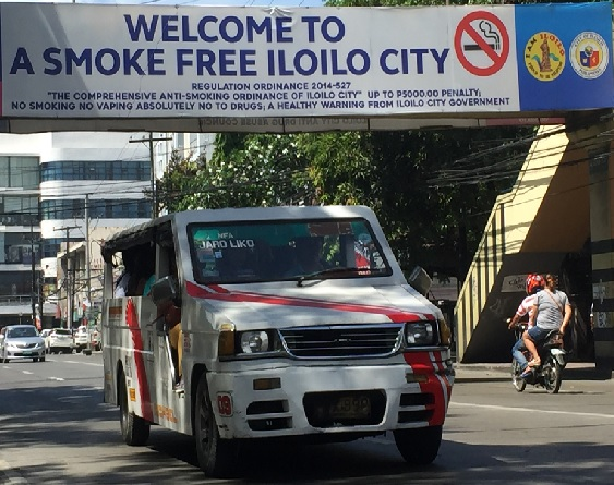 PROMINENT REMINDER. Iloilo City's anti-smoking billboards are mounted everywhere, like this one at Bonifacio Drive, to remind the public that smoking is prohibited.