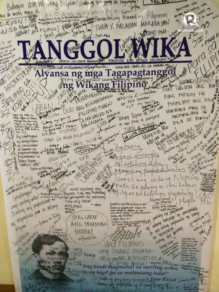 no filipino subjects in college tanggol wika opposes