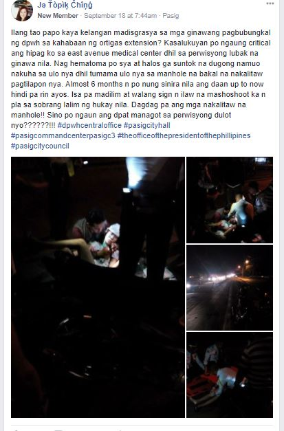CRITICAL. A facebook post shares how the motorist suffered a hematoma after figuring in a crash last September 17, 2017. Screenshot from R.A.C.E.R. Facebook group.