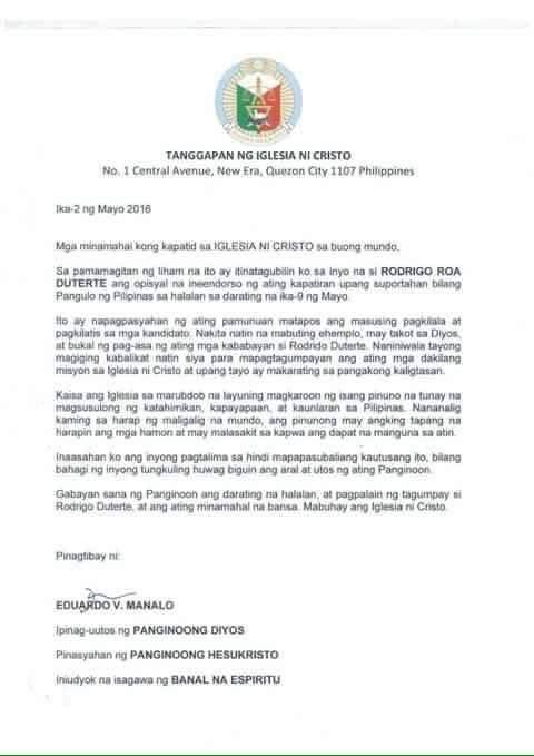 INC official: Duterte endorsement letter 'fraudulent'