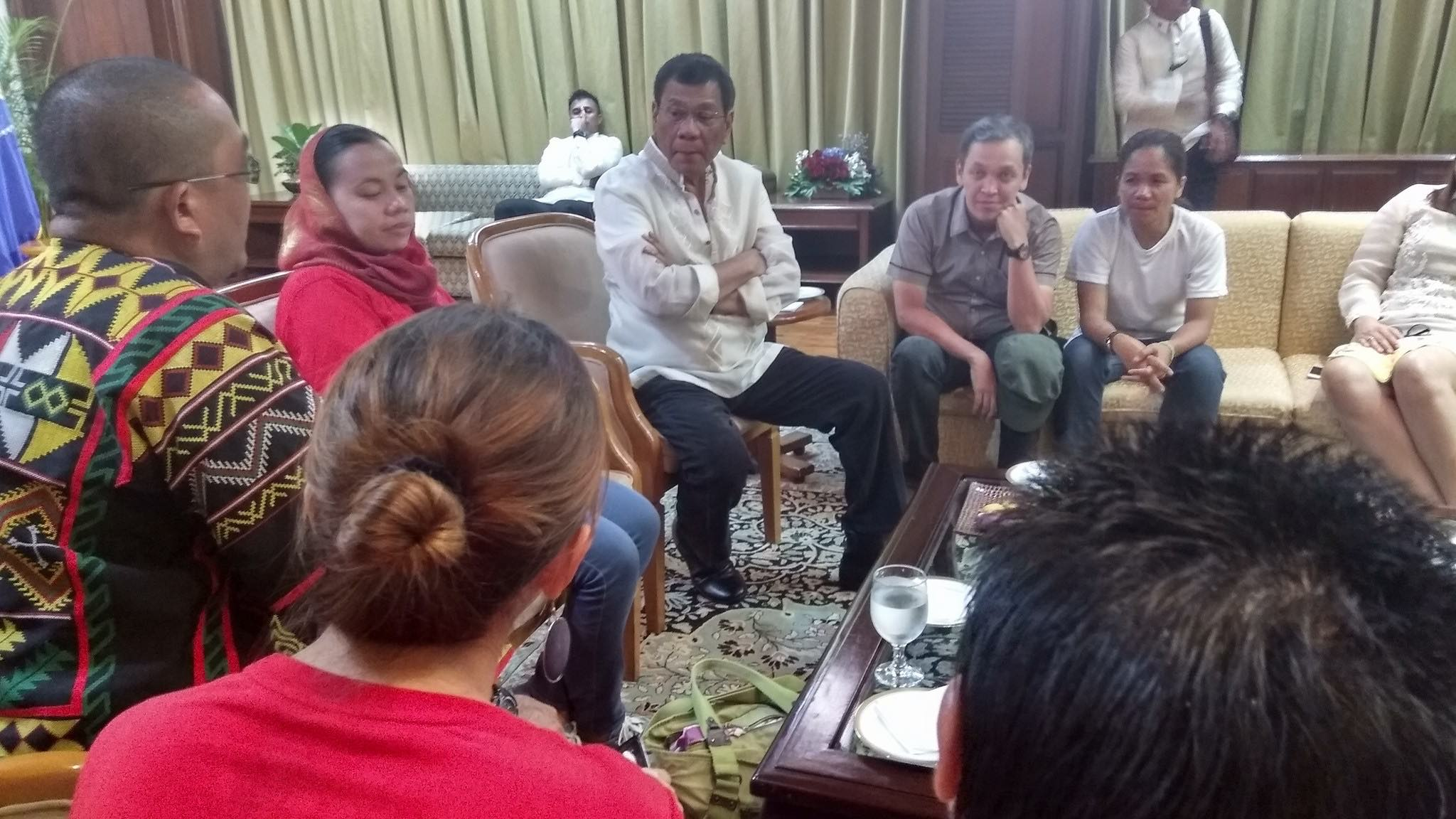 CONVERSATION. President Rodrigo Duterte meets with activists, lumad, and Moro leaders after his State of the Nation Address (SONA) on July 25, 2016. Photo courtesy of Renato Reyes Jr
