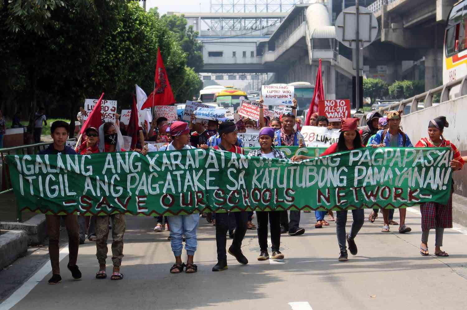 SAVE LUMAD SCHOOLS. The Lumad from Mindanao hold a rally on August 9, 2017 to protest against the alleged military attacks on Lumad schools and communities, slamming President Rodrigo Duterte's earlier statement that he will order the military to 'bomb lumad schools'. Photo by Darren Langit/Rappler
